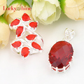 Luckyshine Wedding Holiday Gift Silver Plated Jewelry Fire Drop Red Quartz Crystal Rings Pendants necklaces Wedding Jewelry Sets