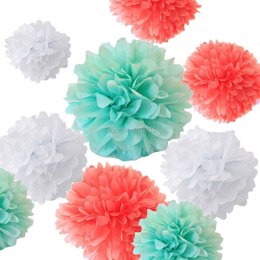 Baby shower wedding buy tissue paper poms tissue paper pom pom kit - Set Of 18 Mixed Coral Mint Green White Diy Tissue Paper Pom Poms Flower Ball Baby Shower Wedding Engagement Birthday Party Decor
