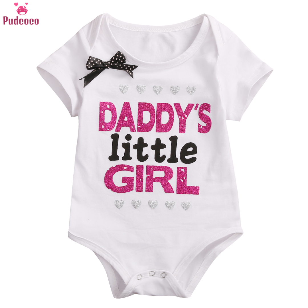 Pudcoco Toddler Newborn Clothes Baby Girl   Romper   Jumpsuit Outfit Print Letter Daddy Mommy's Princess Short Sleeve Onesie