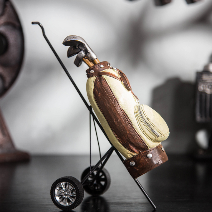 [European] Jingmei Vintage golf rod rack bar desk bookcase one living room decoration decoration gifts