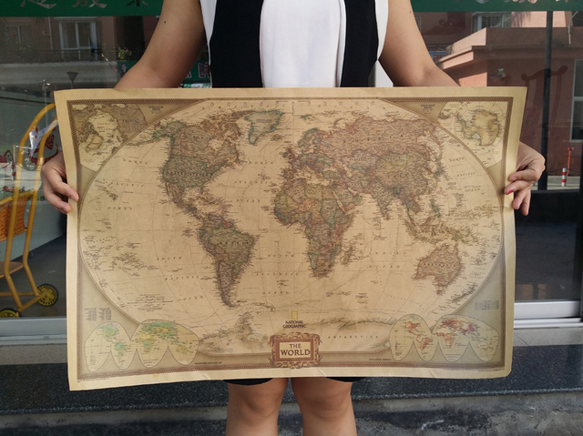 Print vintage kraft paper poster retro wall decoration art the world print vintage kraft paper poster retro wall decoration art the world map in english modern decorative gumiabroncs Image collections