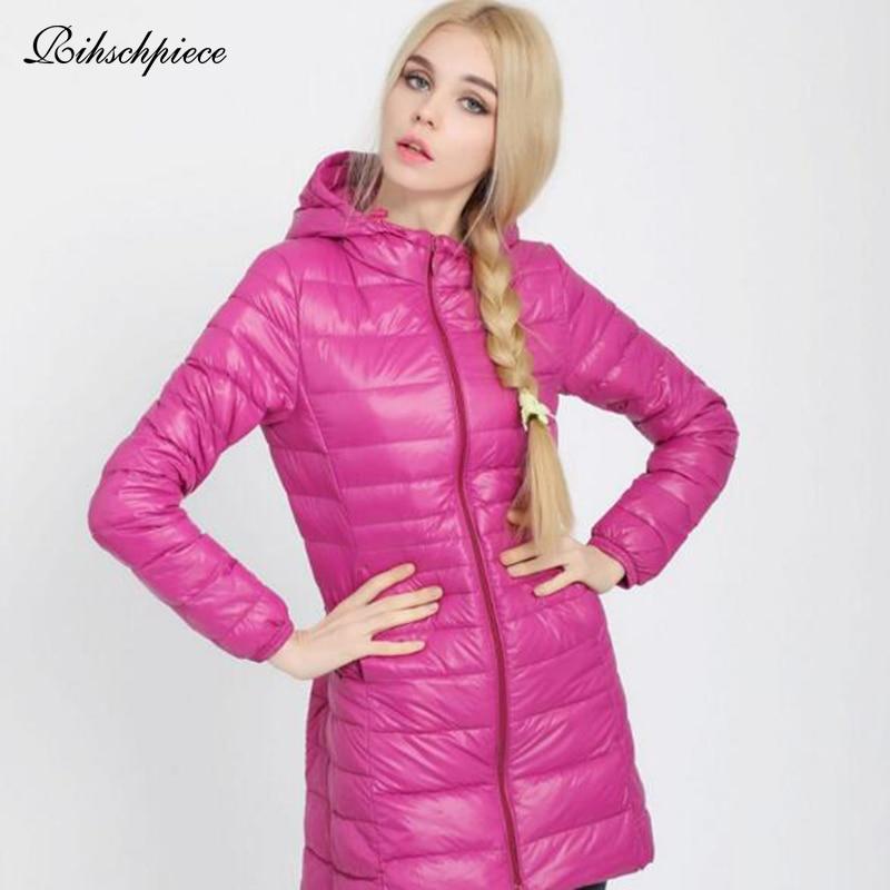 Rihschpiece 2018 Winter Plus Size 6XL Ultra light   Down   Jacket Women Spring Hoodie   Down     Coat   Long Puffer Jackets RZF1451