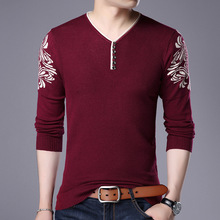 The spring of 2018 the new men's cultivate one's morality long-sleeved v-neck printing turtleneck sweater knitting sweater