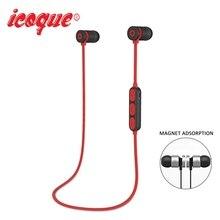 Icoque Esporte Sem Fio Bluetooth Fone de Ouvido fone de Ouvido Estéreo de Alta Fidelidade de Música para Samsung Xiaomi iPhone 7 Magnético Sony Fones De Ouvido com Microfone