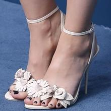 2017 Summer Hot Leather Flowers Women Open Toe Sandals Concise Style Ankle Buckles Ladies Slingback High Heels Female Dress Shoe