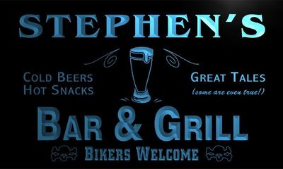 x0034-tm Stephens Bar & Grill Bikers Custom Personalized Name Neon Sign Wholesale Dropshipping On/Off Switch 7 Colors DHL