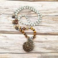 Lii Ji Natural Ammonite Pendant Labradorite Tiger's Eye Agates Pendant Bohemia Long Necklace Hand Made Jewelry Drop Shipping