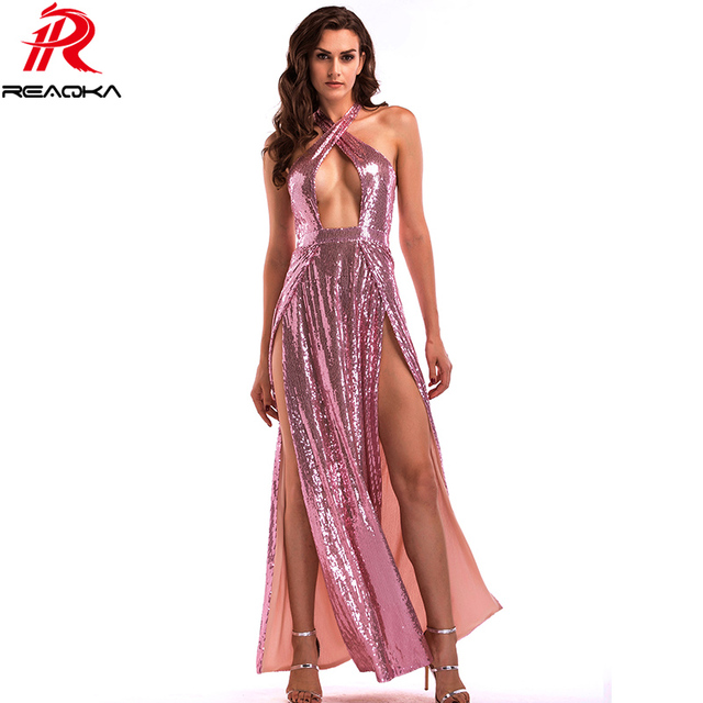 Reaqka Luxury Woman Sexy Club Maxi Off Shoulder Red Sequin Dress Long 2018 Summer Women Backless Split Party Dresses Vestidos XL