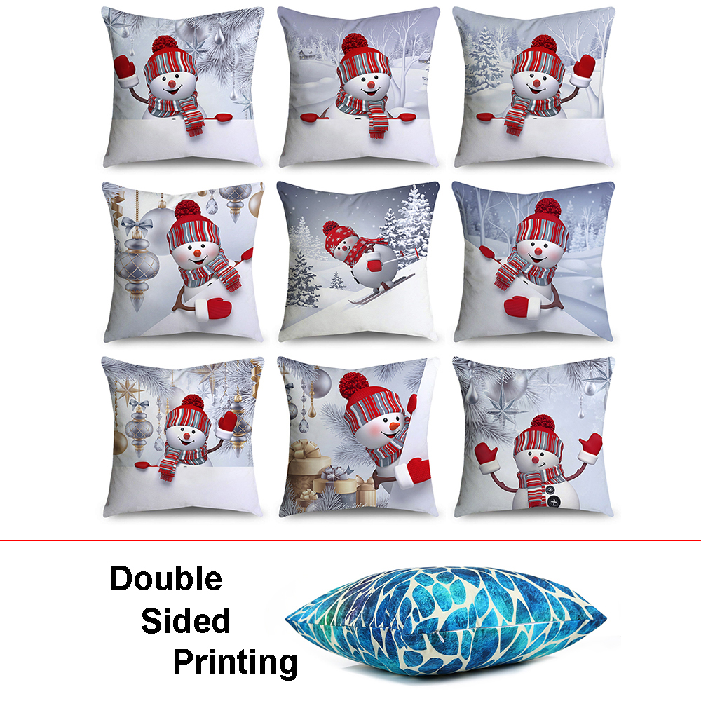 Sofa Pillows Soft: Double Sided Printing Christmas Snowman Pillow Case
