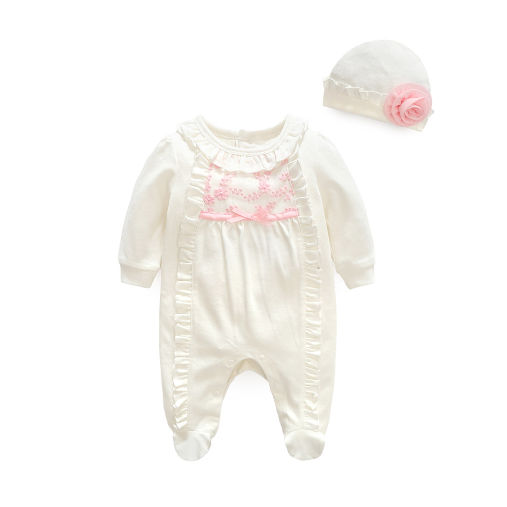 Newborn White Baby Girl Clothes Jumpsuit + Cap Princess Set Baby Girl Rompers 1st Birthday Baby Clothing Roupas Infantil Menina