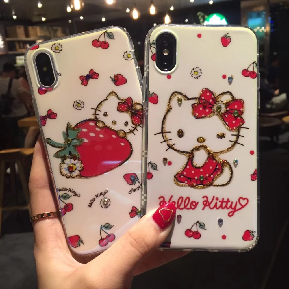 Japan Wink kitty Strawberry Shine Diamonds Phone Casing Soft TPU Back Cover Case For iPhoneX 8 6s 7plus body Shell Protection