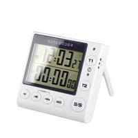 2017 New Products Free Shipping LED Large Screen Double Channel Magnetic Kitchen Timer Up And Down