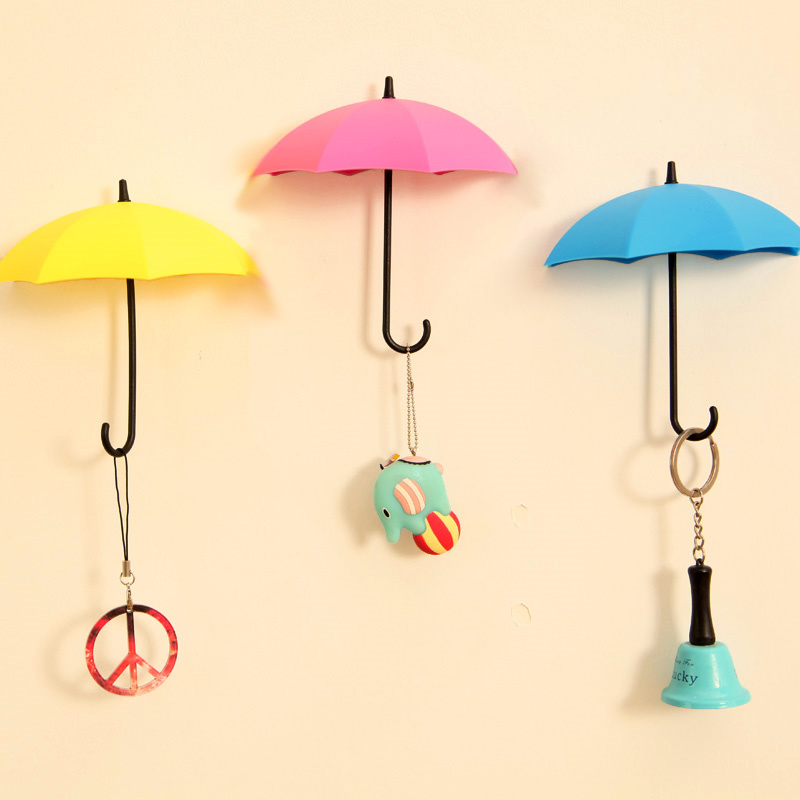 3pcs Fashion Umbrella Shape Wall Hooks Self Adhesive Wall