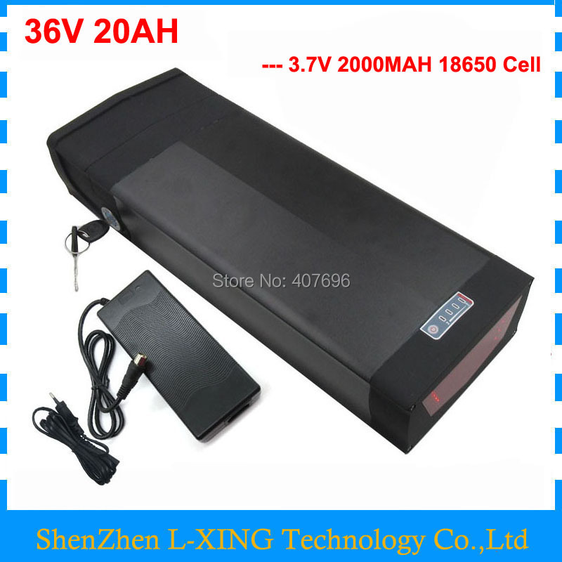 1000W 36V 20AH Rear rack battery 36V lithium batteries with tail light and USB Port use 2000mah 18650 cell 30A BMS 2A Charger1000W 36V 20AH Rear rack battery 36V lithium batteries with tail light and USB Port use 2000mah 18650 cell 30A BMS 2A Charger