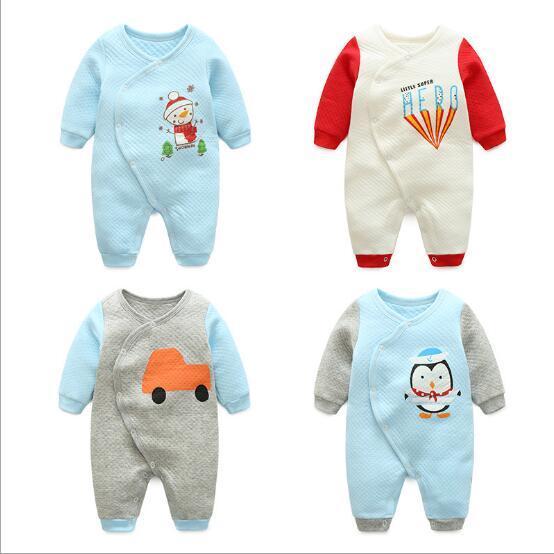 Urso do inverno do bebê terno listrado manga longa coverall roupa do bebê meninos macacão de bebê menina infantil roupas de bebê animais