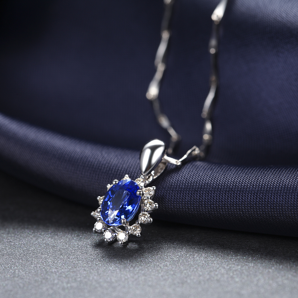 1 carat large sapphire natural blue gemstone pendant with diamond 1 carat large sapphire natural blue gemstone pendant with diamond luxury jewelry for wedding engagement jewelry in pendants from jewelry accessories on aloadofball Image collections
