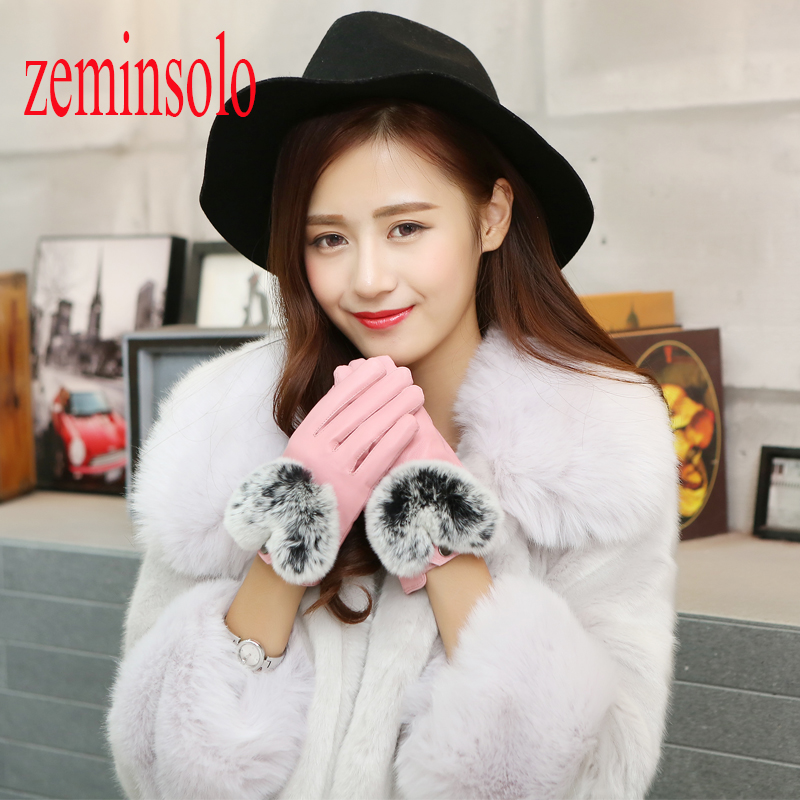 Best Deal Fashion Fine Female <font><b>Gloves</b></font> For Touch Screen 1 Pair Winter Warm Wrist <font><b>Gloves</b></font> Mittens Sheepskin Leather <font><b>Gloves</b></font> Soft Gift