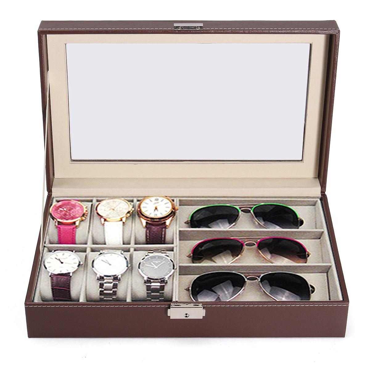 6 Grids Jewelry Storage Box Watch Box Glasses Case Watch Gift Case Sunglass  Display Watch Organizer Display In Underwear From Mother U0026 Kids On ...