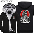 2017 Winter Godzilla Smashing City 2 Men Warm Coat Novelty Printed Thicken Hoodies Cute Cartoon Sweatshirt Thermal Chic Clothing