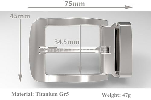 Titanium GR5 Pin Belt Buckle Anti-corrosion Anti-allergic No-plating Nickel free 47g with Belt Loop for Belt Wide 32mm to 34mm