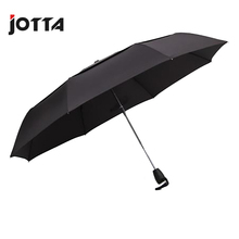 Double-layer super windproof fiber bone automatic umbrella three fold mens business creative double