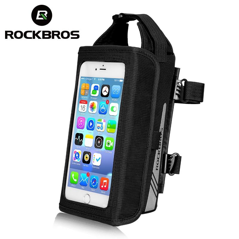 ROCKBROS Bike Bag TPU Touch Screen Rainproof Bike Phone Bag MTB Road Magnetic Front Bicycle Bag 6.2 Inch Bicycle Accessories(China)