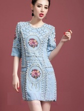 BMD020 New cross stitch denim Pearl retro dresses/Baroque beading jean dresses/balmai bag hip  vest dresses/5size