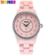 Skmei 2017 popular marca de relojes mujeres moda casual reloj de cuarzo de cerámica artificial rosa blanca pulsera caja de regalo de la banda de reloj