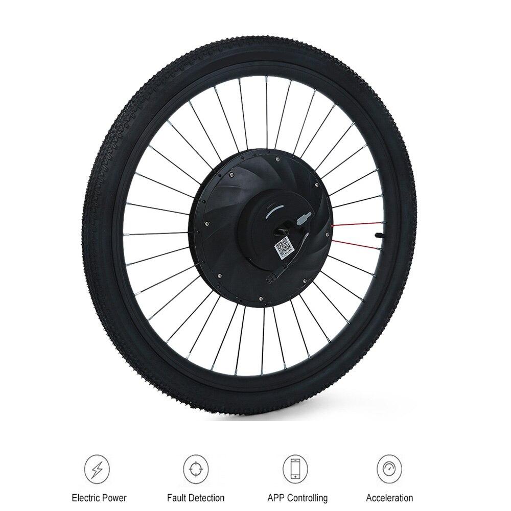 YUNZHILUN 36 V-X IMortor Roda de Bicicleta Elétrica Bicicleta 26 Polegada Bluetooth 4.0 Inteligente Roda Dianteira Para Bicicleta Elétrica moto