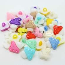800 шт Детские разноцветные пластиковые пуговицы в виде грибов