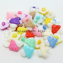 Set of 300 pcs Rainbow Colorful Mushroom Children Plastic Sewing On Buttons Set 16mm-LK0053