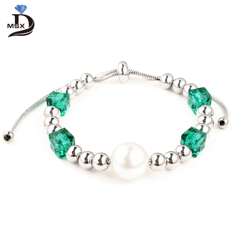 Beautiful Stainless Steel Beads Bracelet Blue Crystal Luxury Pretty Big Pearl High Quality Gift for Girlfriend Jewelry
