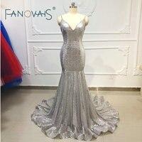 Silver Evening Dresses Long Vestidos De Noche Largos Elegantes De Fiesta 2019 Formal Dress Women Shiny Sequin Evening Gowns