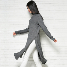 2017 Hot style New Fashion Cashmere Sweater Long Sections Pullover Split Knitted Bottoming shirt Slim Solid Color Free shipping