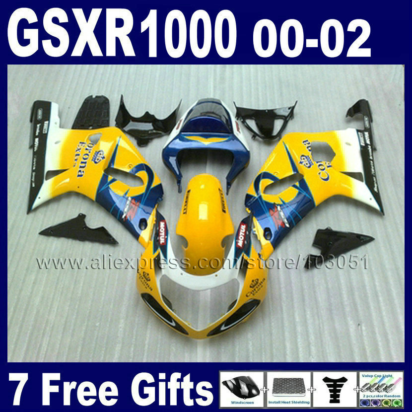 Custom INJECTION Fairings kit for SUZUKI K2 2001 GSX R1000 2000 GSXR 1000 00 01 02 2002 GSXR1000 yellow corona fairing body work
