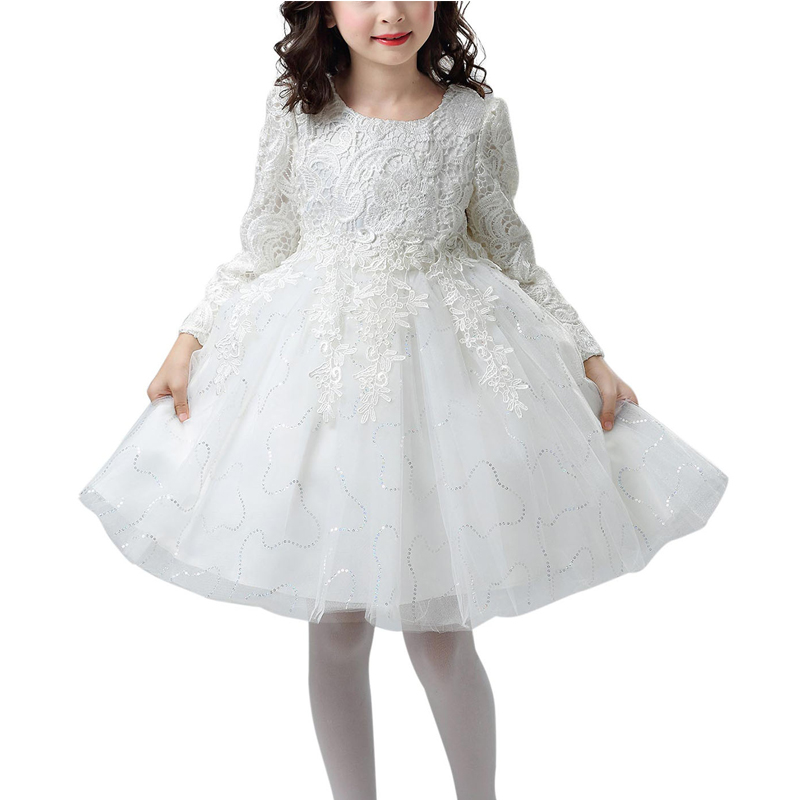 Winter Children Wedding Flower Girls Dress Princess Party Pageant Formal Dresses Bridesmaid Birthday Gown Lace Tulle Dress 5-14Y girls long formal dress 2017 flower girls princess dresses kids lace vintage evening party ball gown children s wedding dress