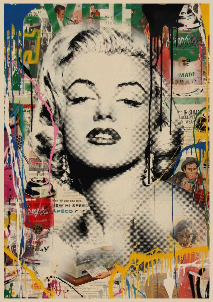 Marilyn Monroe Poster Marilyn Monroe Poster Retro Kraft Paper Poster Wall Sticker Wall Art Picture Wall Poster Decoration Home Living Room Bar Decor 3