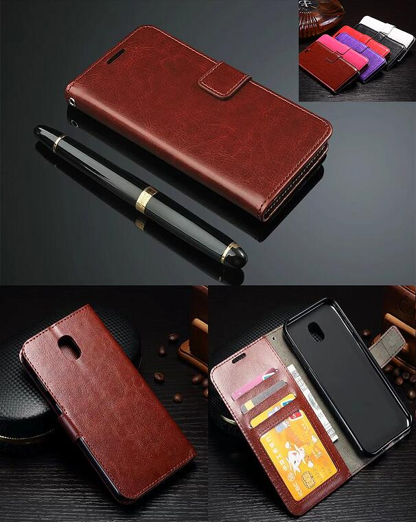 Retro Leather Wallet Flip Case For <font><b>Samsung</b></font> Galaxy J3 2017 <font><b>J330FN</b></font> EU Eurasian Version Photo Frame Stand Case With Card Holder image