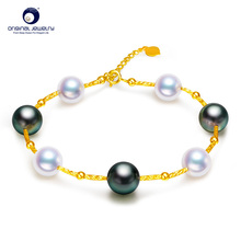 YS Free Shipping Saltwater Pearl Bracelet 8-9mm Tahitian & Akoya Pearl Bracelet 18k Gold Bracelets