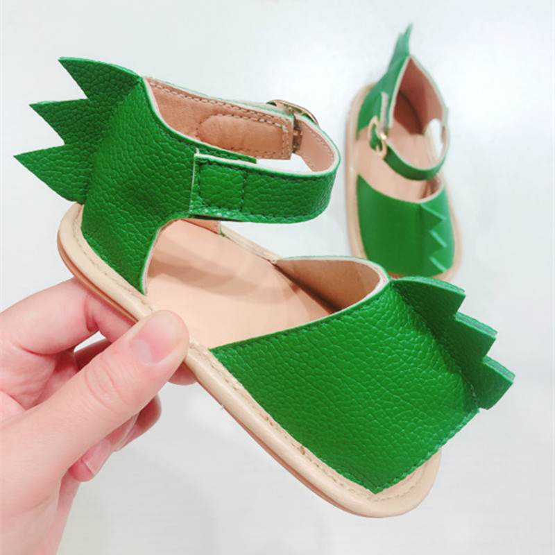2019 Summer Baby Sandals Green Dinosaur Shape Newborn Baby Boys Girls Sandals Shoes PU Leather Breathable Toddlers Infant Shoes
