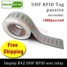 UHF RFID tag sticker Impinj B42 EPC6C wet inlay 915mhz868mhz860-960MHZ  1000pcs free shipping adhesive passive RFID label