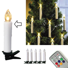 10pcs Tree Decoration Wireless Remote Control 6 Colors LED Candles Battery Operated Light for Hallowmas Christmas Party Wedding