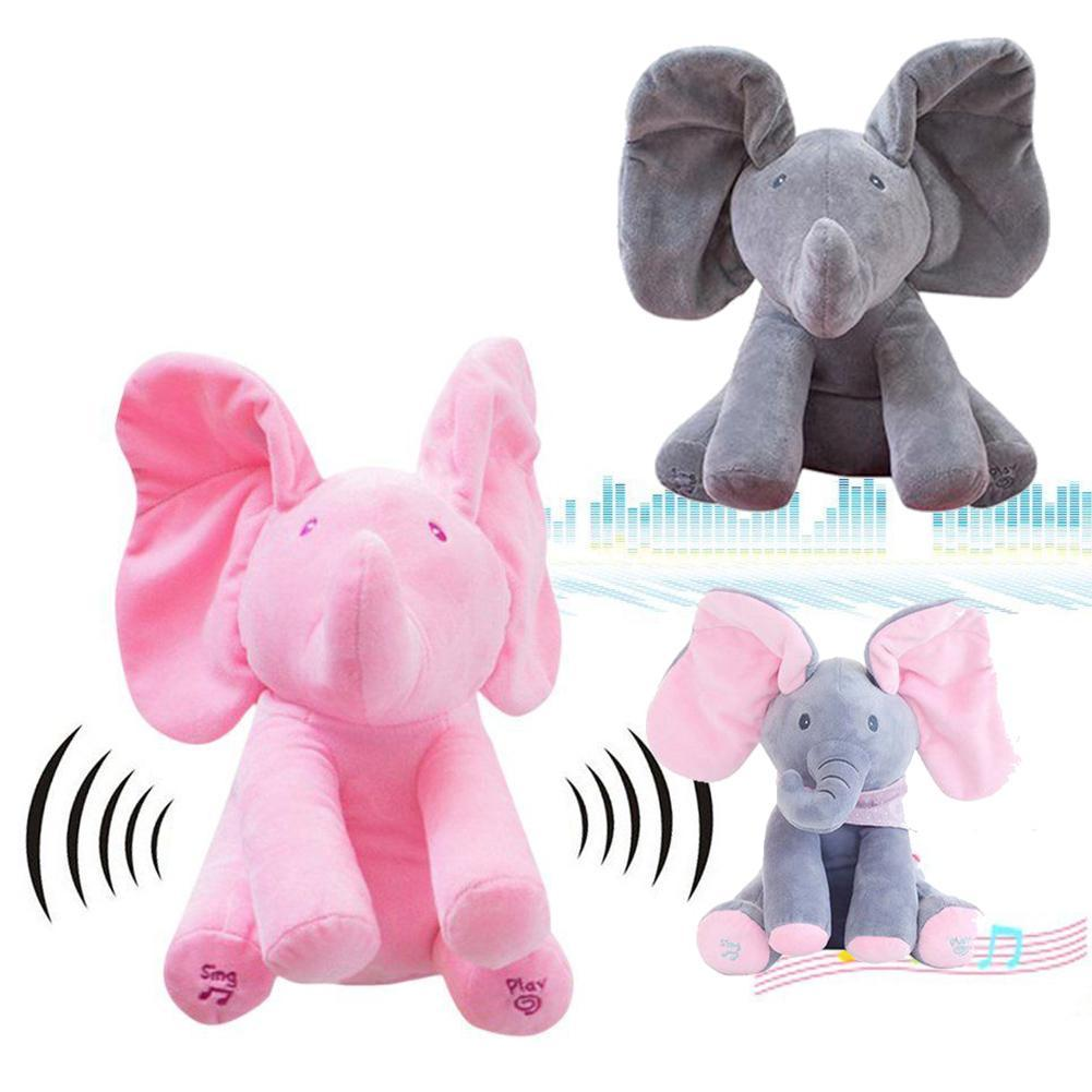 30cm Elephant Plush Toy Stuffed Animal Music Elephant Doll Play Hide and Seek Lovely Cartoon Toy for Kids Baby Gift stuffed animal 90 cm plush dolphin toy doll pink or blue colour great gift free shipping w166