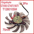 Free Shipping EVERFLOW T128010SM 75mm 40x40x40mm 3Pin For Gigabyte GTX580 GTX670 560TI Graphics Cooling Fan
