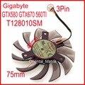 Frete grátis everflow t128010sm 75mm 40x40x40mm 3pin para gigabyte gtx580 gtx670 560ti graphics ventilador de refrigeração