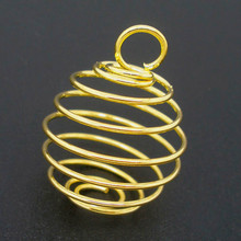 50Pcs DIY Spiral Bead Cages Charms Pendants Breloque Jewelry Making 18x15mm, Gold Plated/Silver Tone