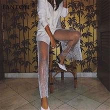 Crystal Diamond Shiny Hollow Out Elastic Fishnet Pants SF