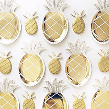 shiny gold foil Pineapple Party Plates Paper Plates, Supplies, Tableware