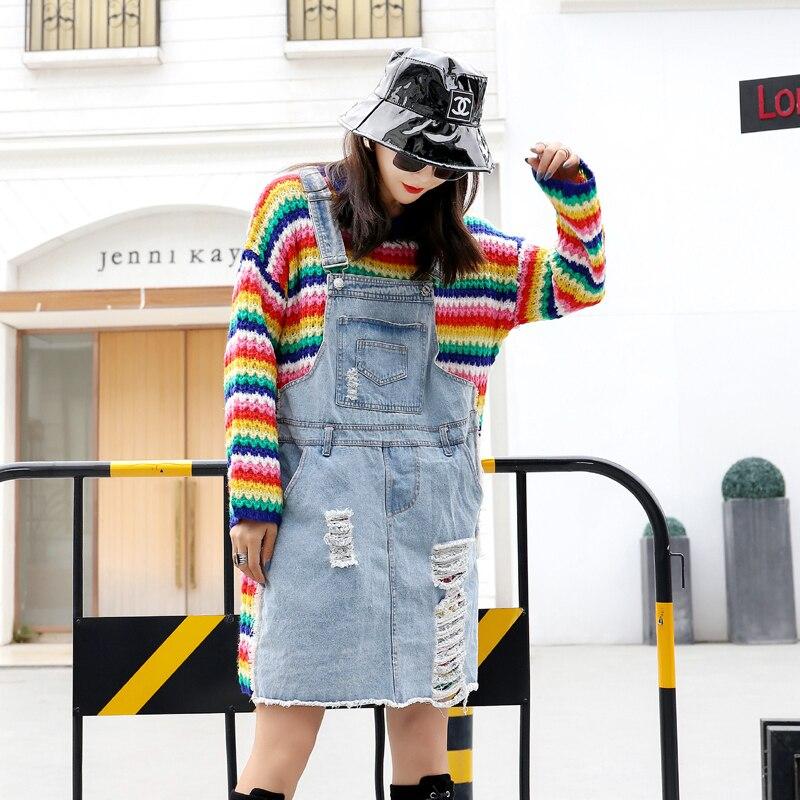 Automne 2018 nouveaux produits européens mode lâche longue section dames chandail couture denim faux deux pièces rayé robe pull