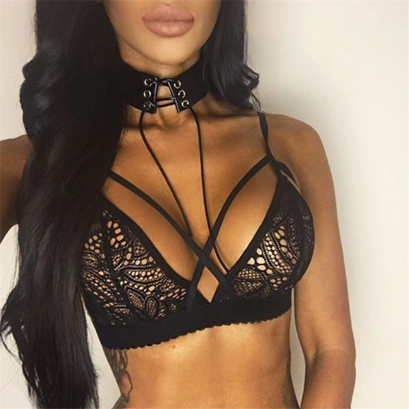Women Sexy Cross Bandage Crop Tank Top Floral Sheer Lace Bra Seamless Bralette Bustier